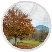 Falling Leaves In Silo Park Round Beach Towel