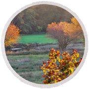 A Fall Day.  Round Beach Towel