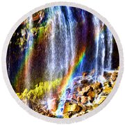 Falling Rainbows Round Beach Towel