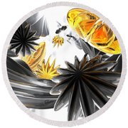 Falling Stars Abstract Round Beach Towel
