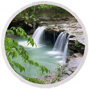 Falling Water Falls 4 Round Beach Towel by Marty Koch