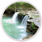 Falling Water Falls 5 Round Beach Towel by Marty Koch