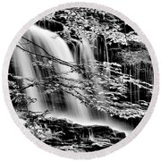 Falls And Trees Round Beach Towel