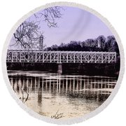 Falls Bridge Round Beach Towel