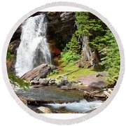 Falls Glacier National Park1 Round Beach Towel