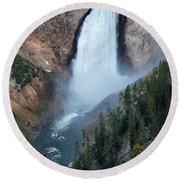 Yellowstone National Park Waterfalls Round Beach Towel