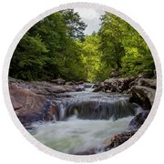 Falls In The Mountains Round Beach Towel