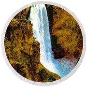 Falls Of The Yellowstone Round Beach Towel