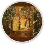 Fall's Radiance In Quebec Round Beach Towel