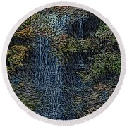 Falls Woodcut Round Beach Towel
