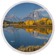 Falltime At Oxbow Bend Round Beach Towel