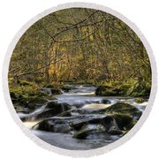 Falltime In Skamania County Round Beach Towel