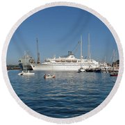 Falmouth Harbour Round Beach Towel by Rod Johnson
