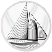 Falmouth Oyster Boat Round Beach Towel