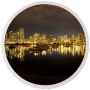 False Creek At Night Round Beach Towel