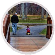 Family - A Father's Love Round Beach Towel
