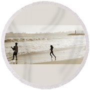 Family At Play On Beach Round Beach Towel