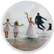 Family Beach Wedding Round Beach Towel