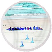 Family Day At Beach Round Beach Towel