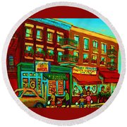 Family Frolic On St.viateur Street Round Beach Towel