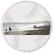Family Fun At The Beach Round Beach Towel