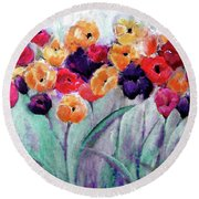 Family Gathering Painting By Lisa Kaiser Round Beach Towel