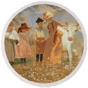 Family Group With Cow Round Beach Towel