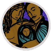 Family Is A Sanctuary Round Beach Towel