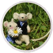 Family Mouse On The Spring Meadow .1. Round Beach Towel