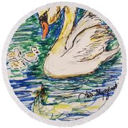 Family Of Swanns  Round Beach Towel