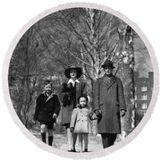 Family Out Walking On A Wintry Day Round Beach Towel