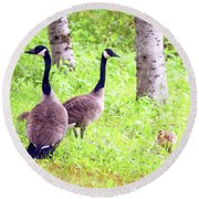Family Outing Round Beach Towel