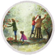 Family Picking Apples Round Beach Towel