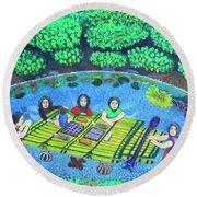 Family Picnic In Palau Round Beach Towel