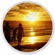 Family Walk On Beach Round Beach Towel