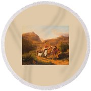 Family With Animals Round Beach Towel
