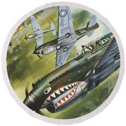 Famous Aircraft And Their Pilots Round Beach Towel