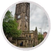 Famous Cathedral Of Manchester City In  Uk Round Beach Towel
