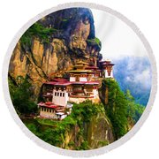 Famous Tigers Nest Monastery Of Bhutan 11 Round Beach Towel