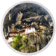Famous Tigers Nest Monastery Of Bhutan 3 Round Beach Towel
