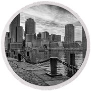 Fan Pier Boston Harbor Bw Round Beach Towel
