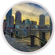 Fan Pier Boston Harbor Round Beach Towel