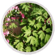 Fanciful Bleeding Hearts Round Beach Towel