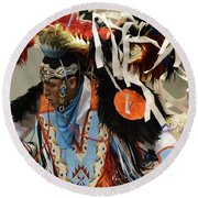 Pow Wow Fancy Dancer 1 Round Beach Towel