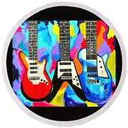 Fancy Guitars Round Beach Towel