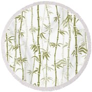 Fancy Japanese Bamboo Watercolor Painting Round Beach Towel