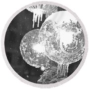 Faneuil Hall Lollypop Light Icicles Boston Ma Black And White Round Beach Towel