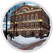 Faneuil Hall Winter Round Beach Towel
