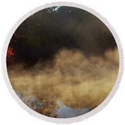 Fantastic Foggy River With Fresh Green Grass In The Sunlight. Round Beach Towel