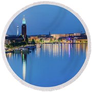 Fantastic Stockholm And Gamla Stan Reflection From A Distant Bridge Round Beach Towel